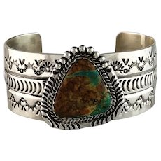 Sterling and Turquoise Bracelet by Navajo Artist Robert Yellowhorse