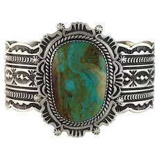 Sterling and Royston Turquoise Bracelet by Harold Joe