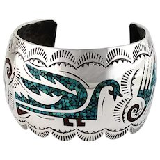 Vintage Navajo Chip Inlay Bracelet