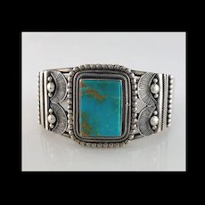 Navajo Sterling and Turquoise Bracelet by Rick Martinez
