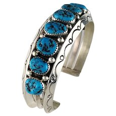 Heavy Navajo Sterling and Kingman Nugget Bracelet
