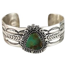 Sterling and Royston Turquoise Bracelet by Navajo Artist Robert Yellowhorse
