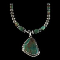 White Fox Creation: Navajo Made Pilot Mountain Turquoise Pendant Necklace