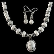White Fox Creation: Sterling and Howlite Necklace Set