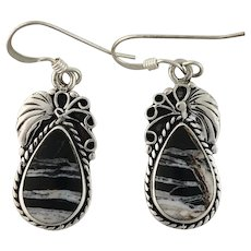Navajo Sterling and White Buffalo Earrings by Tom Ronal