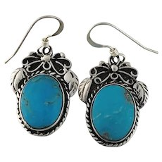 Navajo Sterling and Turquoise Earrings by Tom Ronal