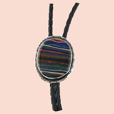 Navajo Sterling and Rainbow Calsilica Bolo