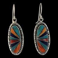Native American Multi Stone Inlay Earrings