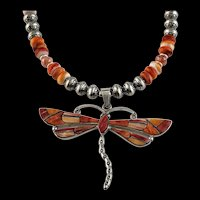 White Fox Creation: Large Spiny Oyster Dragonfly Pendant on Matching Chain
