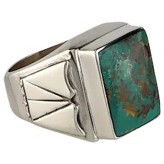 Navajo Sterling and Turquoise Men's Ring Size 12