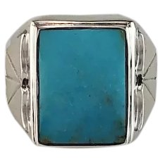 Navajo Sterling and Sleeping Beauty Turquoise Men's Ring Size 11 1/2