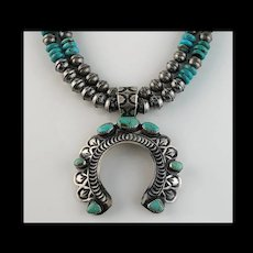 Navajo Sterling and Turquoise Naja on Navajo Sterling Beads