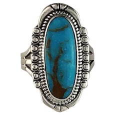 Navajo Sterling and Turquoise Ring Size 8 1/4