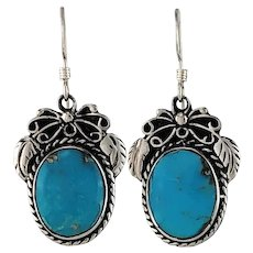 Sterling and Turquoise Earring by Navajo Artist Tom Ronal