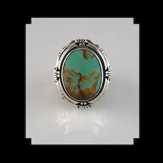 Navajo Sterling and Royston Turquoise Unisex Ring  Size 9