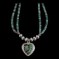 White Fox Creation: Navajo Heart Pendant on Turquoise
