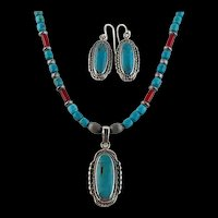 White Fox Creation: Matching Kingman Turquoise Necklace and Earring Set