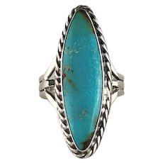 Sterling and Turquoise Ring by Navajo Artist Melissa Yazzie 6 1/4