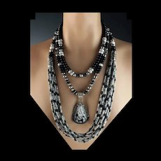 White Fox Creation: Outstanding Onyx and White Buffalo Necklace Collection