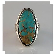 Sterling and Turquoise Ring by Navajo Artist Melissa Yazzie  Size 8 1/4