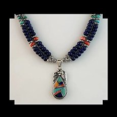 White Fox Creation: Double Gemstone Necklace with Native American Pendant