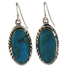 Navajo Sterling & Kingman Turquoise Earrings