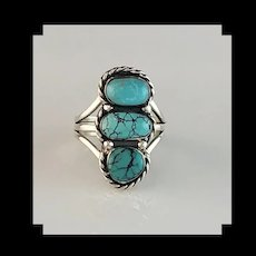 Navajo 3 Stone Turquoise Ring by Melissa Yazzie Size 7 1/4