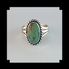 Navajo Sterling and Royston Turquoise Ring Size 7 3/4