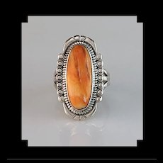 Navajo Sterling and Spiny Oyster Ring Size  7 1/2