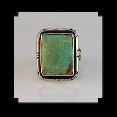 Navajo Sterling and Rectangular Cut Turquoise Ring Size 8