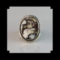 Navajo Sterling and Wild Horse Magnesite  Ring  Size 7 1/4