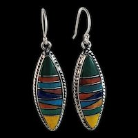 Sterling and Multi-Stone Inlay Earrings by Melissa Yazzie