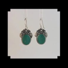 Sterling and Castle Dome Turquoise Earrings