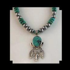 White Fox Creation: Sterling & Turquoise Pendant Necklace