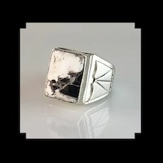 Navajo Sterling and White Buffalo Men's Ring Size 11 1/2