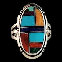 Native American Multi Stone Inlay Ring  Size  9 1/2