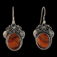 Navajo Sterling and Spiny Oyster Earrings