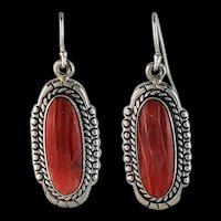 Sterling and Dark Rust  Spiny Oyster Earrings
