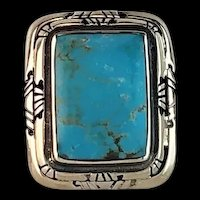 Navajo Sterling and Turquoise Unisex Ring Size 7 1/4