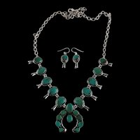 Navajo  Sterling and Pilot Mountain Turquoise Squash Blossom & Earrings