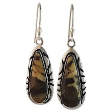 Sterling and Petrified Peanut Wood Earrings by Melissa Yazzie