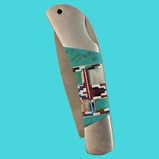 """Southwestern Inlay Gift Knife 5"""" Pocket"""