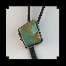 Navajo Sterling and Pilot Mountain Turquoise Bolo