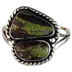 Navajo Sterling and Gaspeite Ring  Size 6 3/4