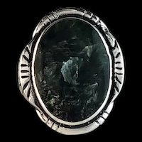 Sterling and Seraphinite (Angle Wing) Ring by Melissa Yazzie