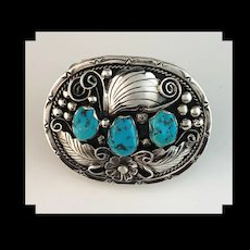 Navajo Sterling and Turquoise Ladies Belt Buckle