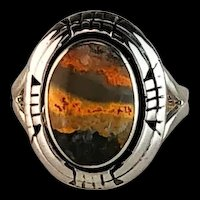 Navajo Sterling and Bumblebee Jasper Ring Size 10 1/4