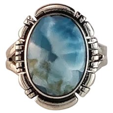 Navajo Sterling and Larimar Ring Size 5 3/4