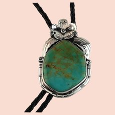 Sterling and Pilot Mountain Turquoise Bolo by Ted Secatero