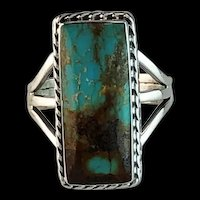 Navajo Sterling and Pilot Mountain Turquoise Ring  9